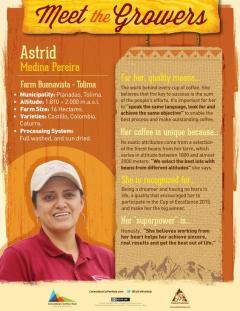 コロンビアコーヒーの産地、トリマ(Tolima)で2015年カップ・オブ・エクセレンスに優勝したアストリッドさん