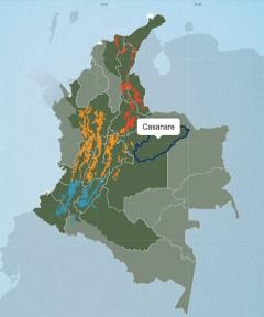 コロンビアコーヒーの産地、カナサレの地図