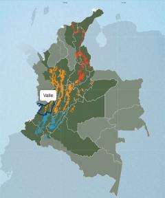 バジェ・デル・カウカ県の地図